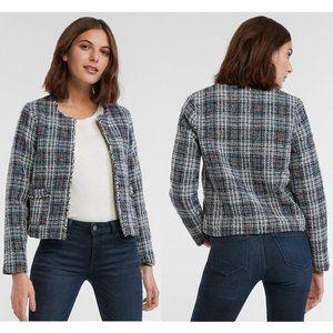 NWT Hayden LA Plaid Tweed Short Jacket Blue White
